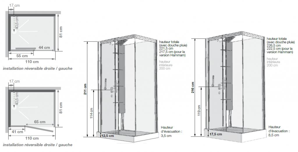 Cabine de douche horizon 110 receveur faible hauteur porte for Porte de douche 110