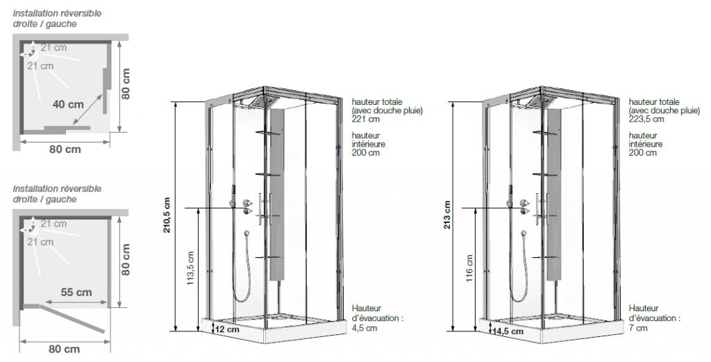 Cabine de douche horizon c90 receveur faible hauteur porte - Porte de douche hauteur 170 ...