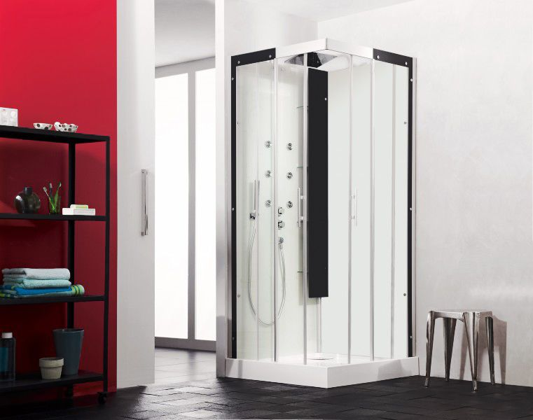 cabine de douche horizon c90 receveur faible hauteur portes coulissantes perle noire kinedo. Black Bedroom Furniture Sets. Home Design Ideas