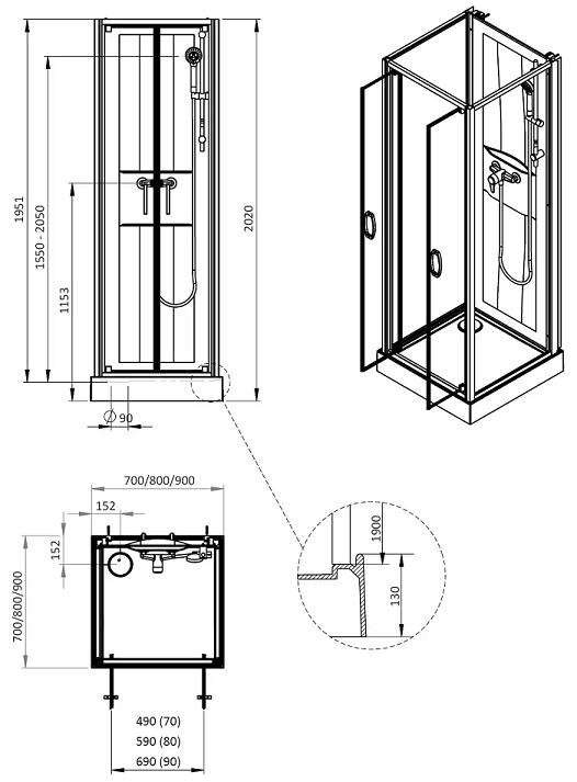 cabine de douche izi box 2 milieu de mur 70x70cm portes battantes verre central opaque leda
