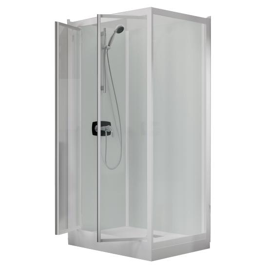 cabine de douche kineprime glass 100 angle 100x80 2 portes pivotantes mitigeur m canique. Black Bedroom Furniture Sets. Home Design Ideas