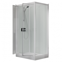 Cabine de douche Kineprime Glass 100 angle 100x80 2 portes pivotantes mitigeur mécanique receveur 9cm - KINEDO Réf. CA900MTN