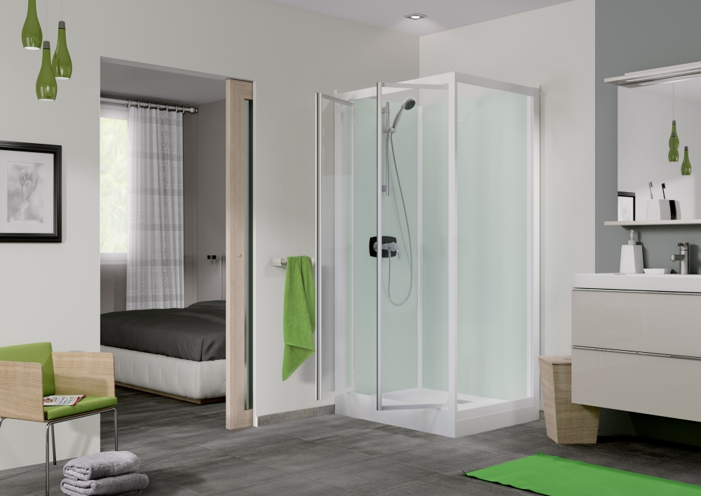 cabine de douche kineprime glass c angle 80x80 2 portes. Black Bedroom Furniture Sets. Home Design Ideas