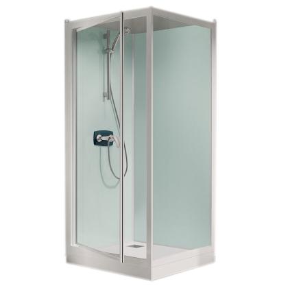 Cabine De Douche Kineprime Glass 100 Angle 100x80 Porte Pivotante Mitigeur Thermostatique Receveur 24cm Kinedo Réf Ca733ttn