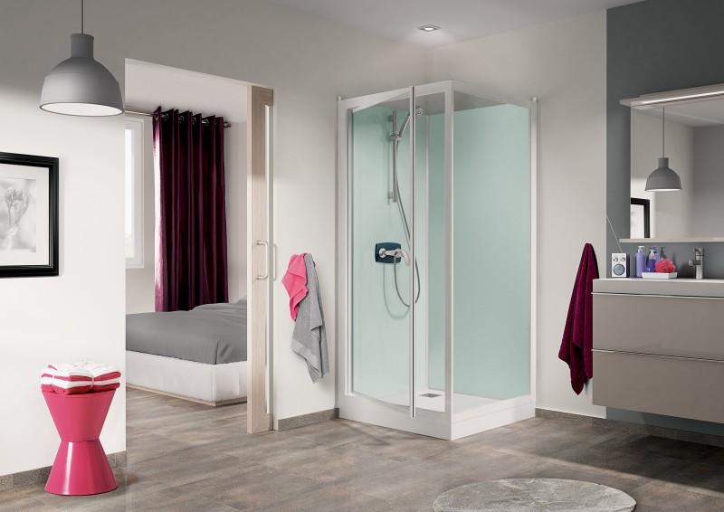 cabine de douche kineprime glass 100 angle 100x80 porte pivotante mitigeur thermostatique. Black Bedroom Furniture Sets. Home Design Ideas