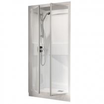 Cabine de douche Kineprime Glass 100 niche 100x80 2 portes pivotantes mitigeur mécanique receveur 15cm - KINEDO Réf. CA9000MTN