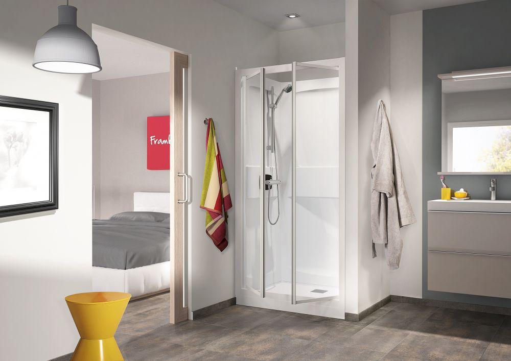 cabine de douche kineprime glass c niche 90x90 2 portes pivotantes mitigeur m canique receveur. Black Bedroom Furniture Sets. Home Design Ideas
