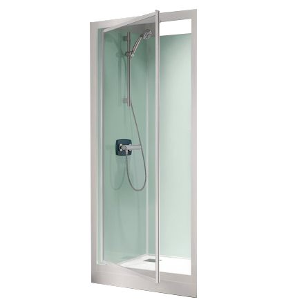 cabine de douche kineprime glass 100 niche 100x80 porte pivotante mitigeur thermostatique. Black Bedroom Furniture Sets. Home Design Ideas