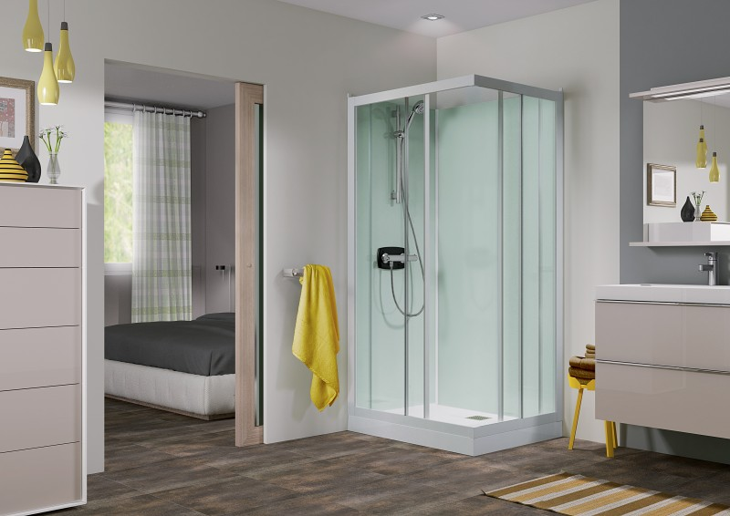 cabine de douche kineprime glass c angle 70x70 portes coulissantes mitigeur thermostatique. Black Bedroom Furniture Sets. Home Design Ideas