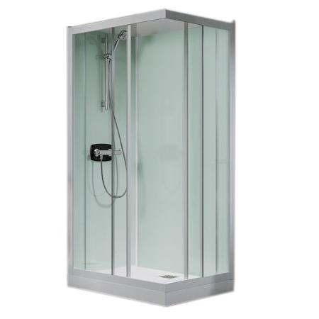 Cabine De Douche Kineprime Glass C Angle 80x80 Portes Coulissantes Mitigeur Mécanique Receveur 24cm Kinedo Réf Ca711mtn