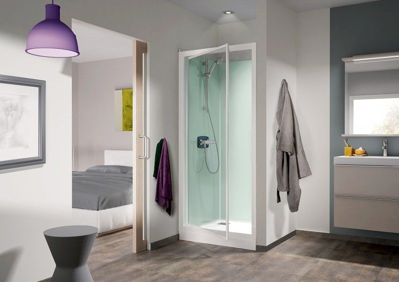 Cabine de douche kineprime glass c niche 70x70 porte pivotante mitigeur thermostatique receveur - Cabine de douche 70x70 ...