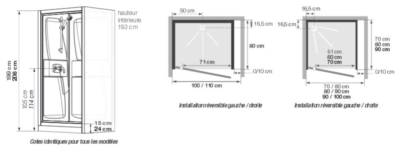 cabine de douche kineprime glass c niche 90x90 porte pivotante mitigeur thermostatique receveur. Black Bedroom Furniture Sets. Home Design Ideas