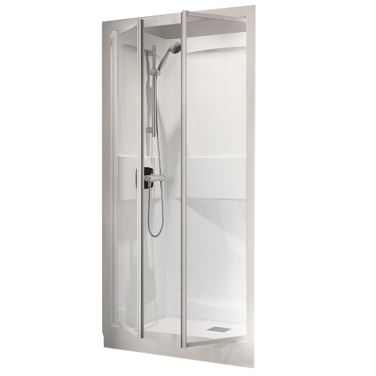 cabine de douche kineprime glass niche 100x80 2 portes pivotantes mitigeur thermostatique. Black Bedroom Furniture Sets. Home Design Ideas