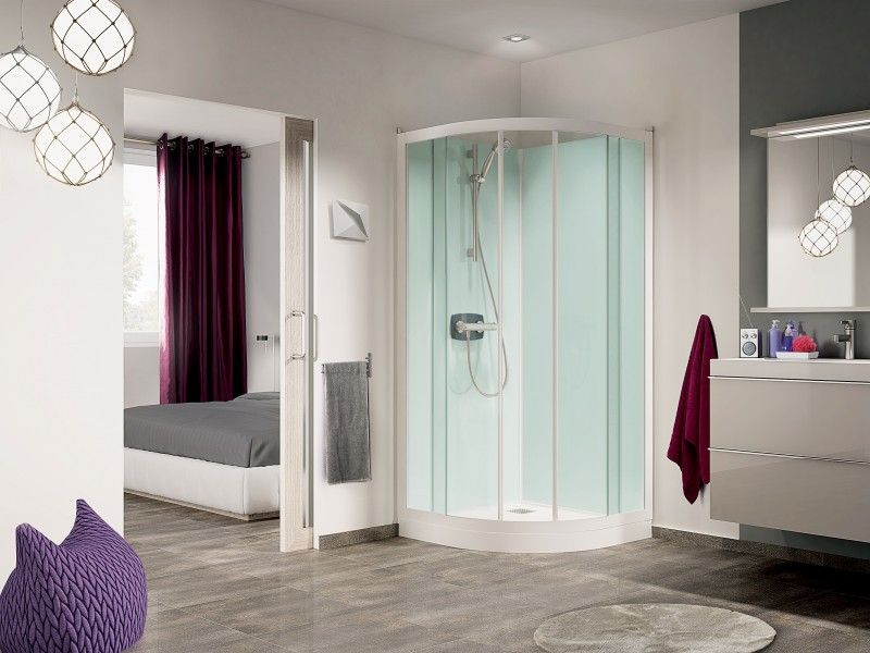 cabine de douche kineprime glass r90 90x90 portes coulissantes mitigeur thermostatique receveur. Black Bedroom Furniture Sets. Home Design Ideas