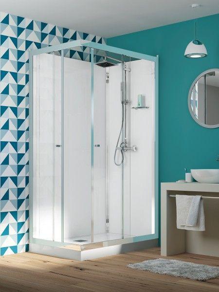 cabine de douche rectangulaire eden 120x90 portes coulissantes profil chrom verre transparent. Black Bedroom Furniture Sets. Home Design Ideas