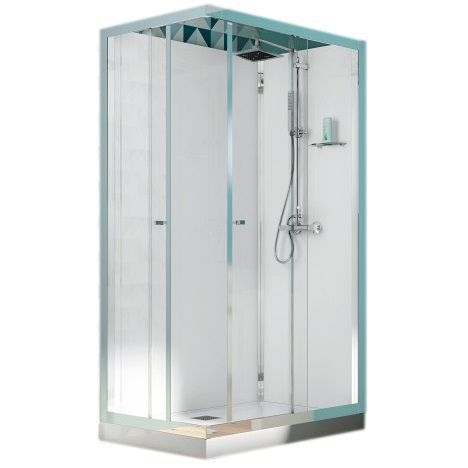 cabine de douche rectangulaire eden 120x80 portes coulissantes profil chrom verre transparent. Black Bedroom Furniture Sets. Home Design Ideas