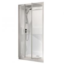 Cabine Kineprime C niche 100x80 mitigeur thermostatique receveur 9cm 2 portes pivotantes transparent - KINEDO Réf. CA5900TTN