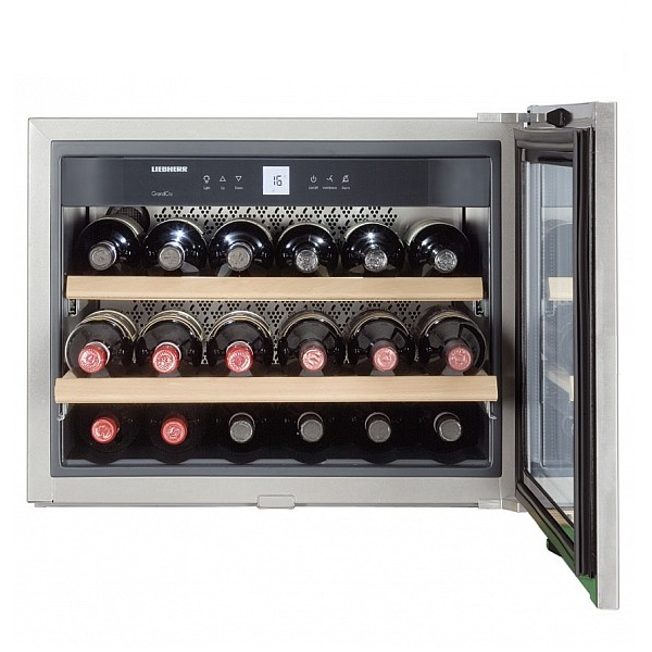 cave vin encastrable niche 45cm 18 bouteilles inox vitr. Black Bedroom Furniture Sets. Home Design Ideas