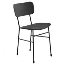 Chaise ecopelle MAHLER Noir, structure acier époxy noir mat- CREALIGNE Réf. A481