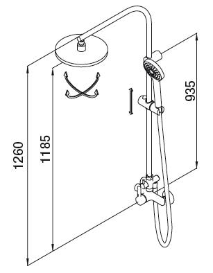 Colonne de douche EcoProject XL Chromé - GRB Réf. 10465100XL