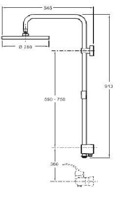 colonne de douche eo douche de t te carr e chrome jacob. Black Bedroom Furniture Sets. Home Design Ideas