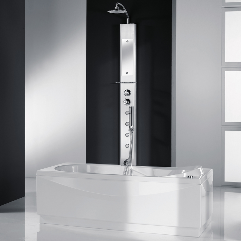 colonne de douche thermostatique hydromassante think 2 avec bec de remplissage silver. Black Bedroom Furniture Sets. Home Design Ideas