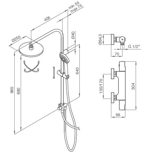 Colonne de douche thermostatique Tender Chromé - GRB Réf. 109900