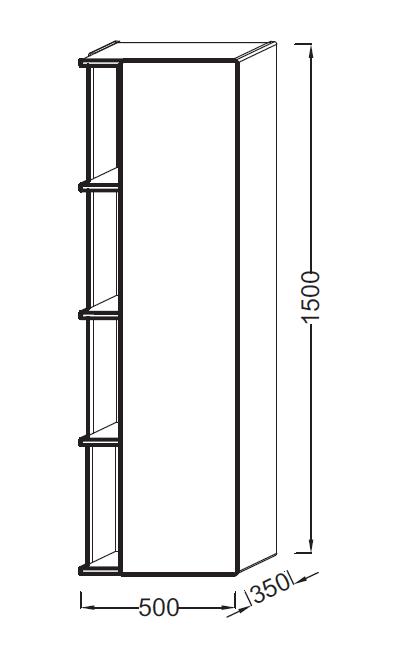 Colonne Terrace L 50 version droite Laque Brillante Noir - JACOB DELAFON Réf. EB1179D-274