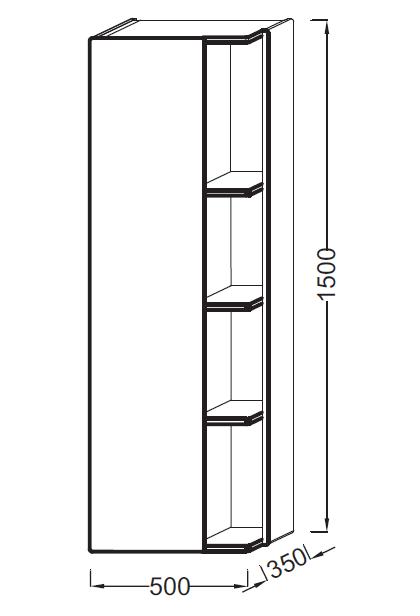 Colonne Terrace L 50 version gauche Laque Brillante Noir - JACOB DELAFON Réf. EB1179G-274