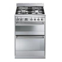 Cuisinière 60cm 2 fours électriques 70+41l / 4 brûleurs gaz Inox - SMEG Réf. SUK62MX8