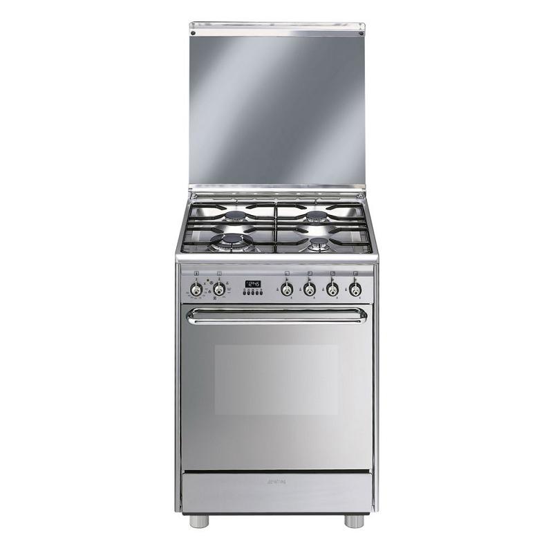 Cuisinière 60cm four multifonction émail 72l / 4 foyers gaz Inox ...