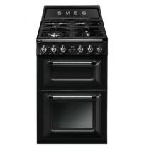 Cuisinière 60cm Victoria 2 fours électriques 68+41l / 4 brûleurs gaz Noir - SMEG Réf. TR62BL