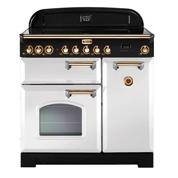 Cuisinière 90cm Falcon Classic Deluxe Blanc Laiton CDL90ECWH/B-EU 3 fours électriques / 5 foyers vitrocéramiques