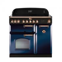 Cuisinière 90cm Falcon Classic Deluxe Bleu Roi Laiton CDL90ECRB/B-EU 3 fours électriques / 5 foyers vitrocéramiques