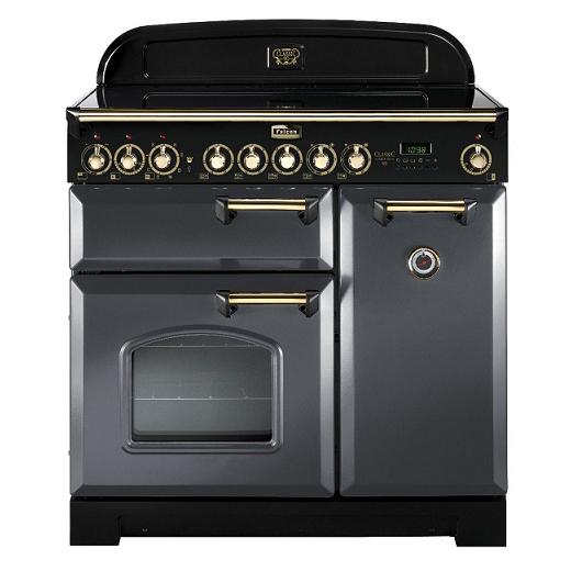 Cuisinière 90cm Falcon Classic Deluxe Gris ardoise Laiton CDL90ECSL/B-EU 3 fours électriques / 5 foyers vitrocéramiques