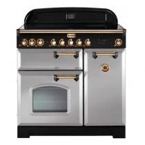 Cuisinière 90cm Falcon Classic Deluxe Gris Perle Laiton CDL90ECRP/B-EU 3 fours électriques / 5 foyers vitrocéramiques