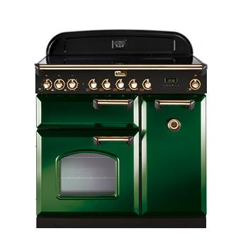 Cuisinière 90cm Falcon Classic Deluxe Vert anglais Laiton CDL90ECRG/B-EU 3 fours électriques / 5 foyers vitrocéramiques