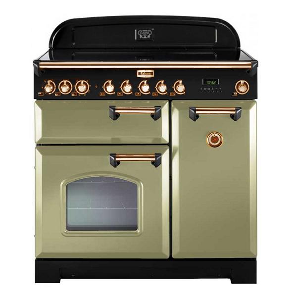 Cuisinière 90cm Falcon Classic Deluxe Vert Olive Laiton CDL90ECOG/B-EU 3 fours électriques / 5 foyers vitrocéramiques