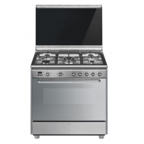 Cuisinière 90cm Four multifonction Vapor Clean 126l / 5 brûleurs gaz Inox - SMEG Réf. SCB90MFX9