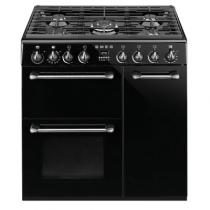 Cuisinière 90cm Victoria 2 fours électriques chaleur tournante 69+68l + 1 gril / 5 brûleurs gaz Noir - SMEG Réf. BM93BL