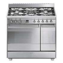 Cuisinière Classique 90 cm four catalyse 72l + four émail 35l / 5 brûleurs gaz Inox - SMEG Réf. SCB92MX8