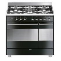 Cuisinière Classique 90 cm four pyrolyse 72l + four émail 35l / 5 brûleurs gaz Inox / Noir Brillant - SMEG Réf. SCB92PN8