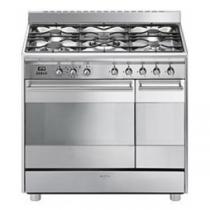 Cuisinière Classique 90 cm four pyrolyse 72l + four émail 35l / 5 brûleurs gaz Inox - SMEG Réf. SCB92PX8