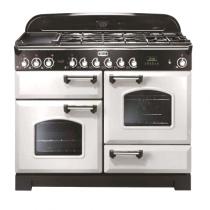 Cuisinière mixte 110cm Falcon Classic Deluxe Blanc Laiton CDL110DFWH/B-EU 3 fours / 5 foyers gaz + 2 vitrocéramiques