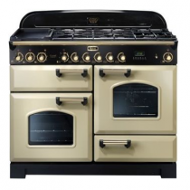 Cuisinière mixte 110cm Falcon Classic Deluxe Crème Laiton CDL110DFCR/B-EU 3 fours / 5 foyers gaz + 2 vitrocéramiques