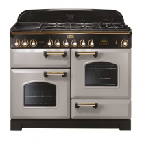 Cuisinière mixte 110cm Falcon Classic Deluxe Gris Perle Laiton CDL110DFRP/B-EU 3 fours / 5 foyers gaz + 2 vitrocéramiques