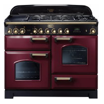 Cuisinière mixte 110cm Falcon Classic Deluxe Rouge Airelle Laiton CDL110DFCY/B-EU 3 fours / 5 foyers gaz + 2 vitrocéramiques