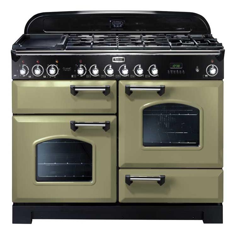 cuisini re mixte 110cm falcon classic deluxe vert olive chrom cdl110dfog c eu 3 fours 5. Black Bedroom Furniture Sets. Home Design Ideas