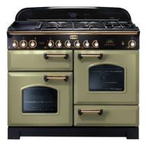 Cuisinière mixte 110cm Falcon Classic Deluxe Vert Olive Laiton CDL110DFOG/B-EU 3 fours / 5 foyers gaz + 2 vitrocéramiques