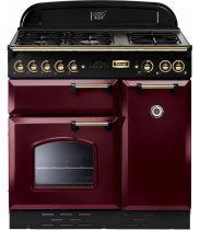 Cuisinière mixte 90cm Falcon Classic Deluxe Rouge Airelle Laiton CDL90DFCY/B-EU 3 fours électriques / 5 foyers gaz
